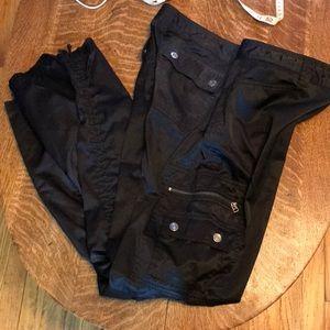 Express Black Satin Cargo Pants Cinch Leg Size 10
